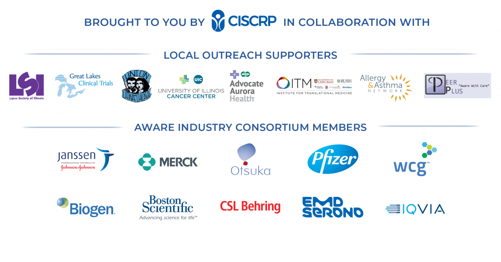 AWARE for All - Chicago is brought to you by CISCRP, local outreach supporters, and the AWARE Industry Consortium.